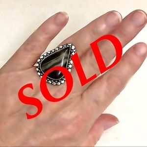 Jewelry - NATURAL BLACK BOTSWANA AGATE S925 STATEMENT RING